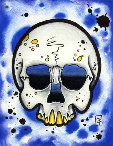 Calavera skull,flash tattoo acuarela (13,5X17,5cm)