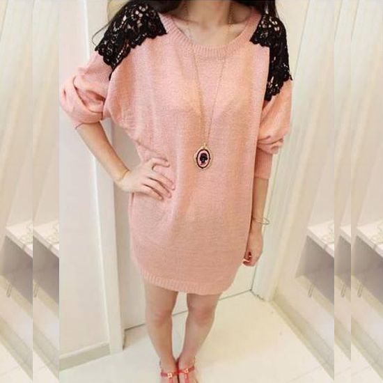 #Women's  #Clothing ,Popular New Arrival Korean Style Split Joint Lace Knit Sweater.