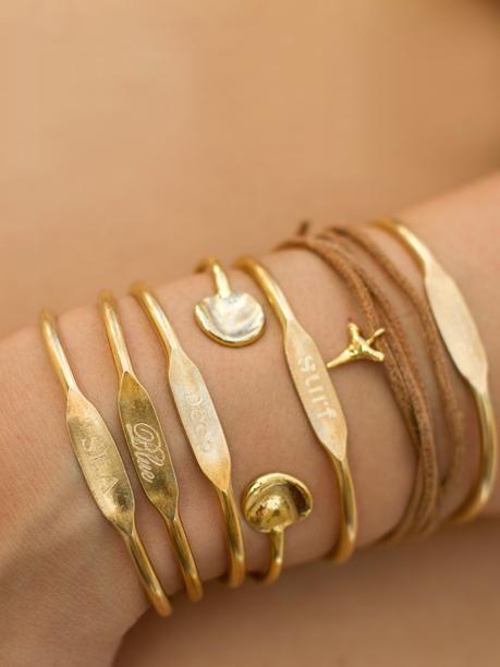 'Jook and Nona - Deep Blue Sea Trio Brass Cuff Bracelets' gold