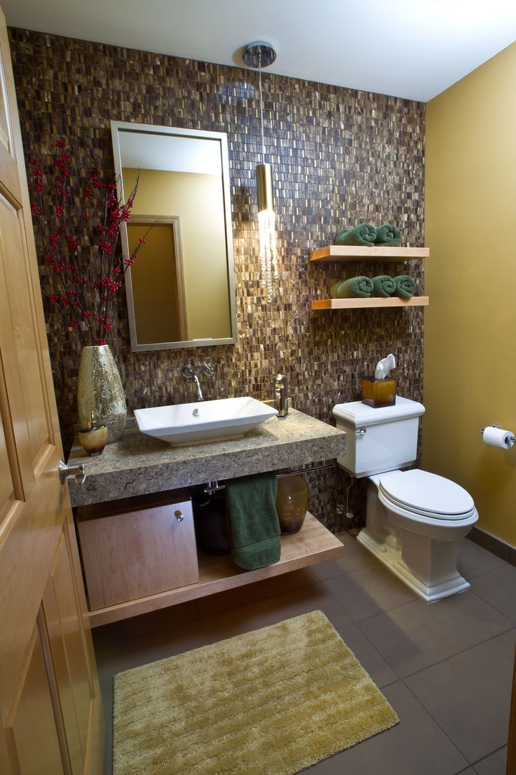 Rustic master bathroom with log walls amp undermount sink zillow digs - Contemporary Powder Room With Simple Granite Daltile Clio Mosaics Eos Pendant Light Vessel Sink Pental Cendre Quartz