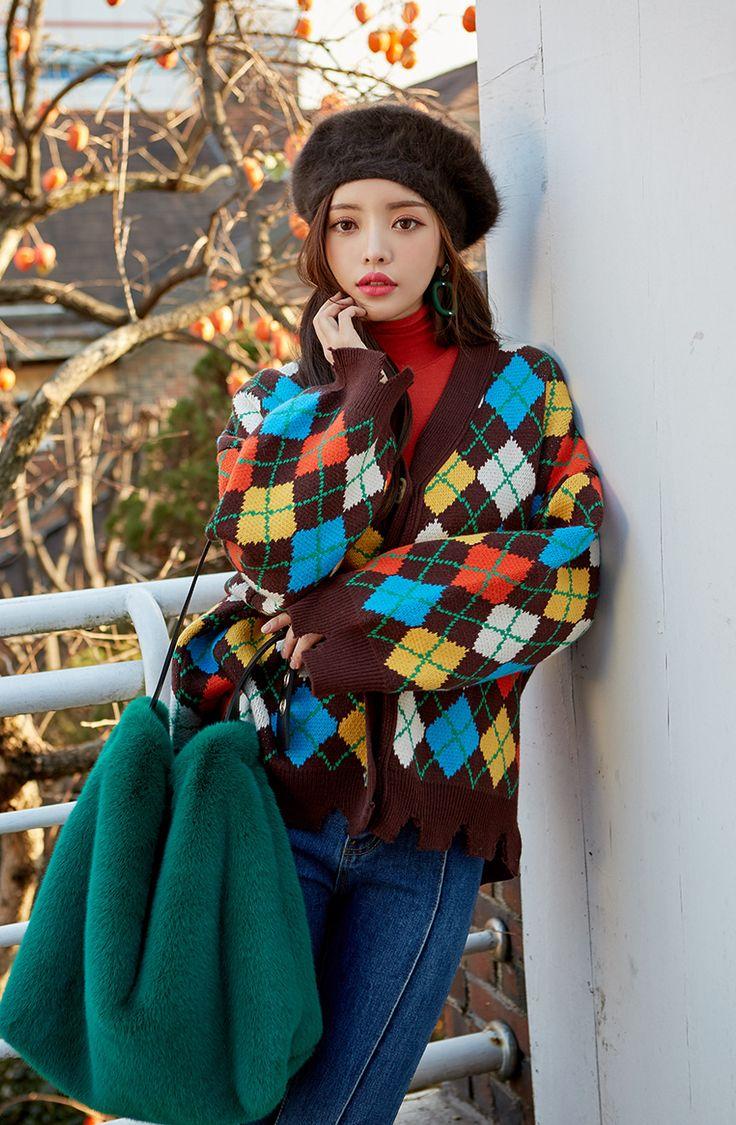 Multi Colored Argyle Check Cardigan CHLO.D.MANON   #cute #check #cardigan #falltrend #koreanfashion #kstyle #kfashion #dailylook