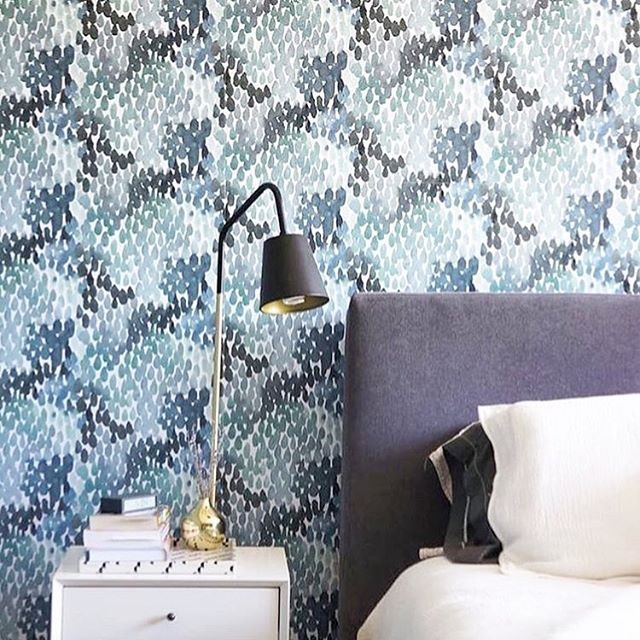 Blue Wallpaper Guest Bedroom Design