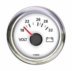 En oferta Reloj Voltimetro ViewLine VDO Blanco e inox 24V-52 mm