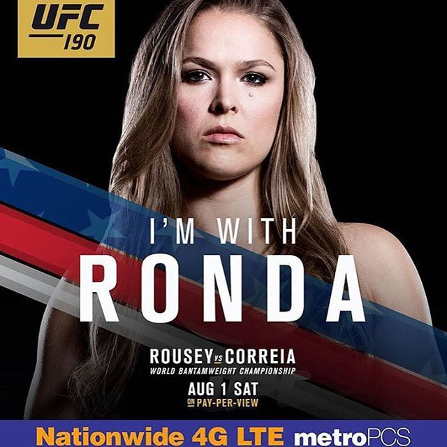 We're with @rondarousey. Can't wait to see our girl dominate tonight. Good luck Ronda! #regram #ufc #rondarousey #siswim #ufc190