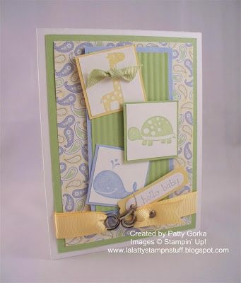 """STAMPS:  Fox & Friends, Teeny Tiny Wishes. CARD STOCK:  White, Certainly Celery, Bashful Blue, So Saffron, Retired SU DSP. INK: Certainly Celery, Bashful Blue, So Saffron, Basic Gray. PUNCHES: Word Window, Modern Label, 1-3/8"""" Square. OTHER: Ribbon, SU Hodge Podge Hardware, Twine, Dimensionals, Glue Dots, Paper Crimper, Crop-a-dial for the hole for the brad. Technique: Crimped Paper."""