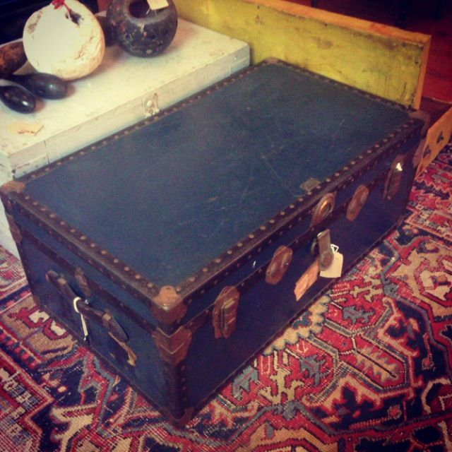 Antique Navy Blue Leather Trunk with Studding Detail - R3,900