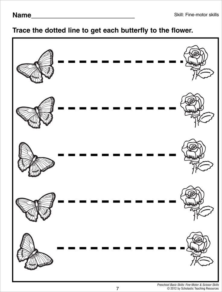 Line Drawing Kindergarten : Tracing horizontal lines preschool basic skills fine motor