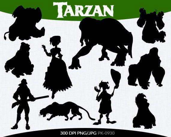 SPRING SALE Tarzan Instant Download silhouette Clipart digital png/jpg files PK-0061