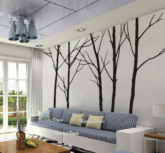 Winter Wall Decal Trees Wall Decor Nursery Vinyl Wall Decal Baby Wall  Sticker Children Room Vinyl Mural Nature Wall Decal Five Winter Trees