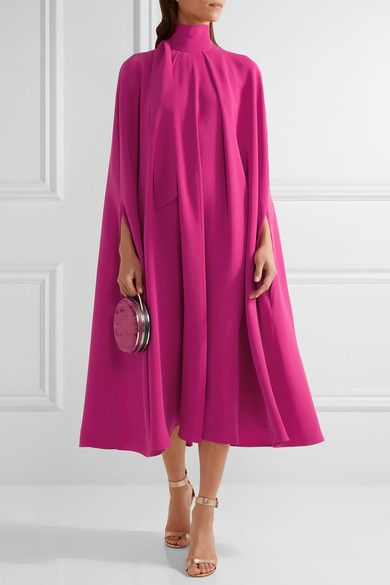 Fuchsia silk-cady  Concealed hook and button-fastening keyhole at back  100% silk  Dry clean  Made in Italy
