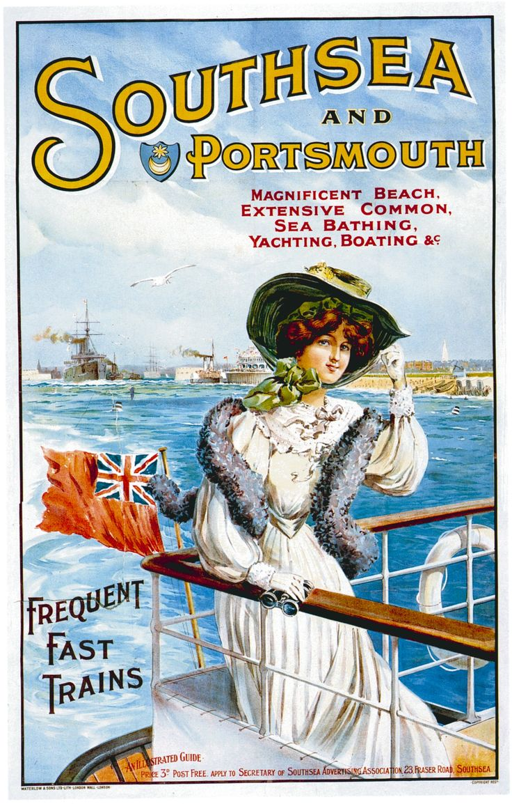 1905 Southsea and Portsmouth vintage travel poster//.,MAR16