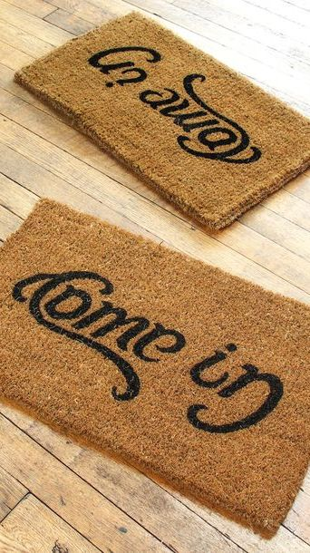 "Reversible Doormat ""Come in + Go Away"" // Mind. Officially. Blown."