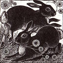 Spring Rabbits ~ Wood Engraving ~ Rosamund Fowler Auf rosamundfowler.co.uk…