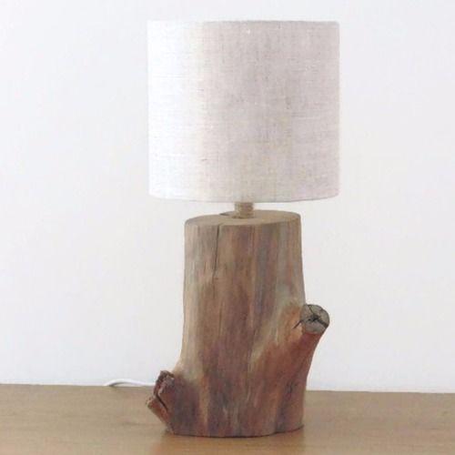 Lampe Bois Flotte Abat Jour Rond Lin Nature Zen Bord De Mer