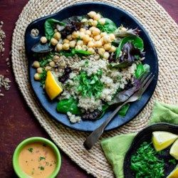 Quinoa Chickpea Salad with Roasted Red Pepper Hummus Dressing - EatingWell.com