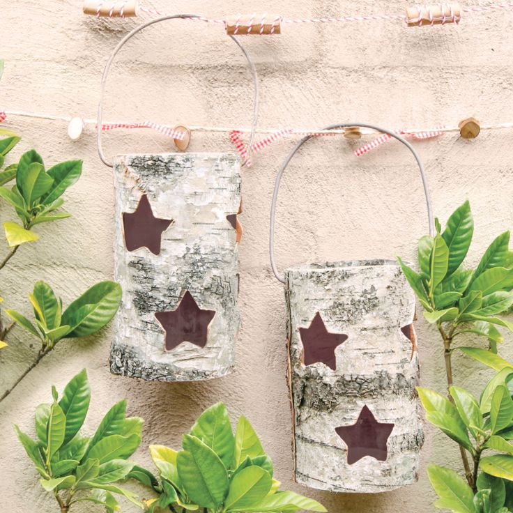 Birch Bark Glass Lantern. Great for hanging up outside or in!