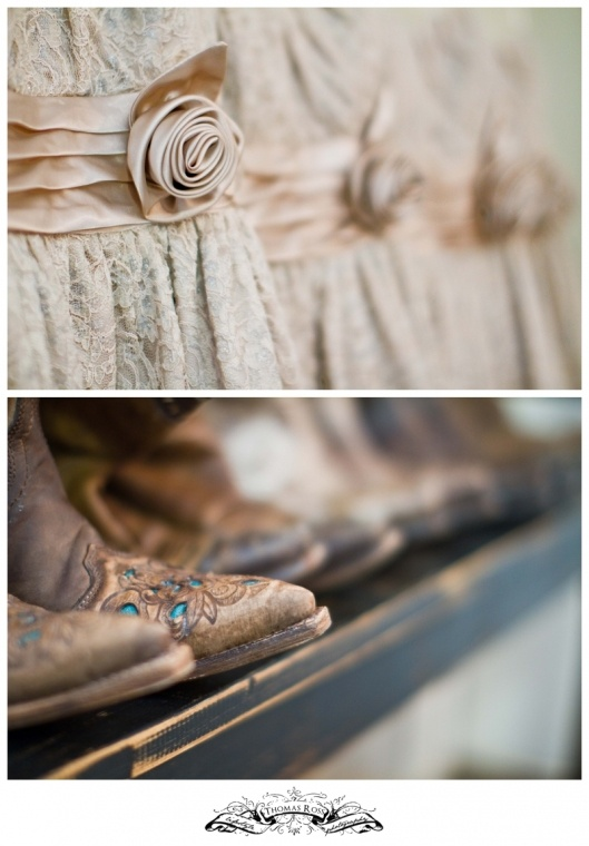 Country Chic wedding bridesmaids dresses and cowboy boots