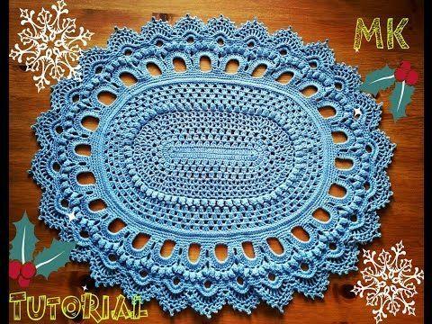 Овальный ковер крючком из шнура для новичков 5 ряд Crochet oval rug for beginners row 5 - YouTube