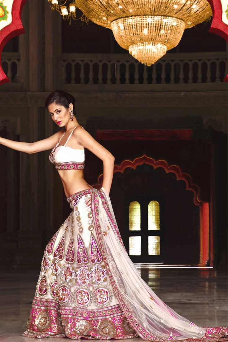 Stunning off white & pink lehenga choli