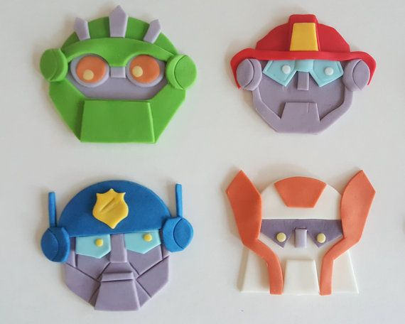 This listing is for one dozen rescue bots transformers fondant cupcake toppers. Choose your characters: bumblebee, optimus prime, blades, marshall, chase, boulder or the autobots logo. These decorations are completely edible and can turn a simple homemade or store-bought cupcake into something extra special. All toppers are made to order and can be customized.  Please check the shop announcement before ordering to be sure I will be able to produce and ship your items in time for your event…