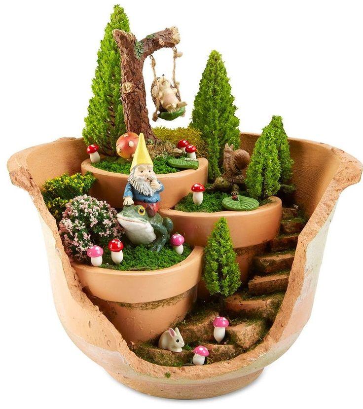 make this whimsical woodland cracked pot fairy garden - Jardin Japonais Miniature Cactus