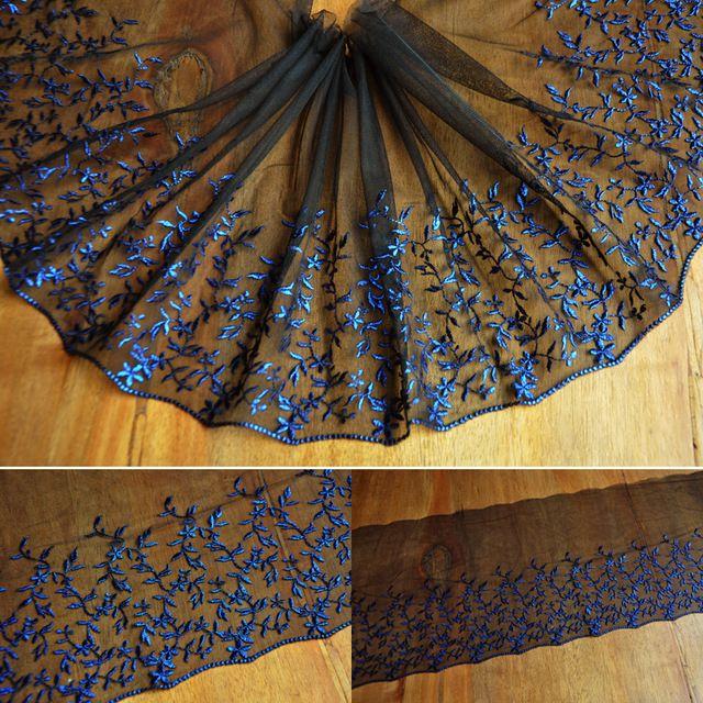Hot predaj 26 * 100cm čiernej čipky vyšívané gázové Afrika textílie Tyl Lace Fabric šitie sukne šaty stuha Patchwork E39