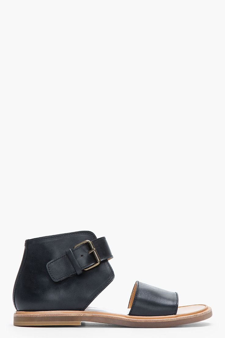 MAISON MARTIN MARGIELA Black Leather Transparent-Soled High-Top MENS' Sandals