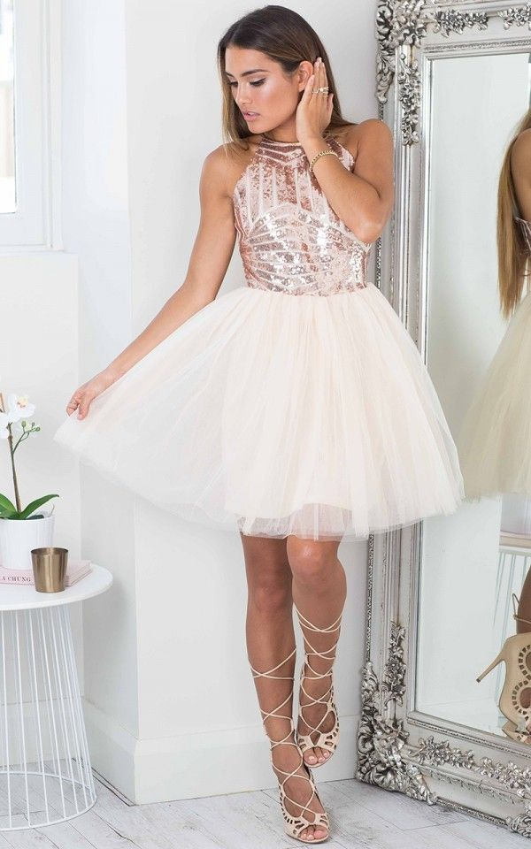 Rose Gold Sequin Tulle Flared Dress