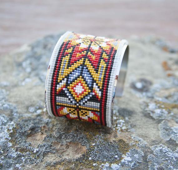 hand beaded western Native style bracelet