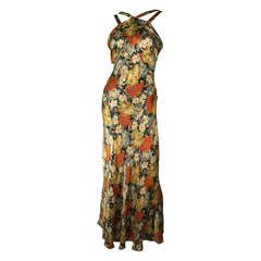 1930s Floral Rayon Satin Bias Cut Gown with Straps