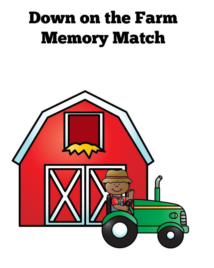 Down on the Farm Memory Match Printable game for preschool. PLUS printable farm mazes, coloring sheets, math activities and more!