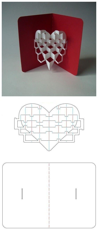 Объемная открытка сердечко схема