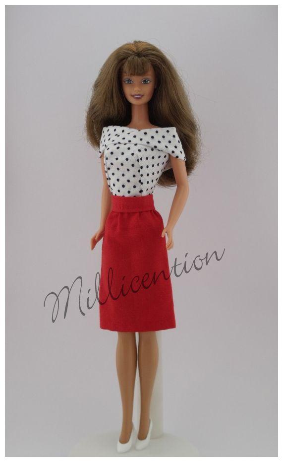 Black and white polka dot Barbie doll top & pencil skirt