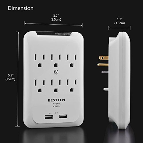BESTTEN 6 Outlet Wall Tap Adapter, Mountable Surge Protector