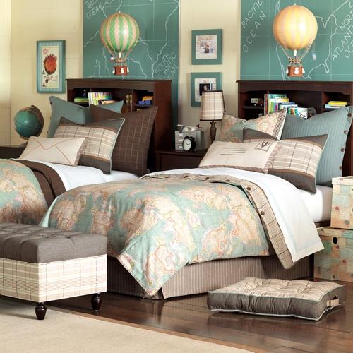 Boys bedroom maps globes etc....Hermes Bedding : Up Up And Away at PoshTots