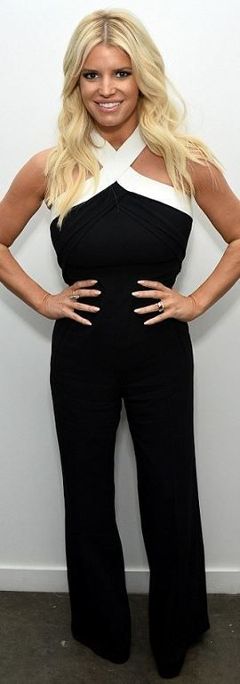 Who made  Jessica Simpson's black and white halter jumpsuit?