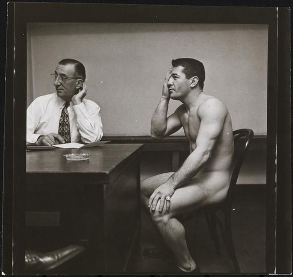 Museum of the City of New York - Rocky Graziano, He's a Good Boy Now [Rocky Graziano doing a vision test.]