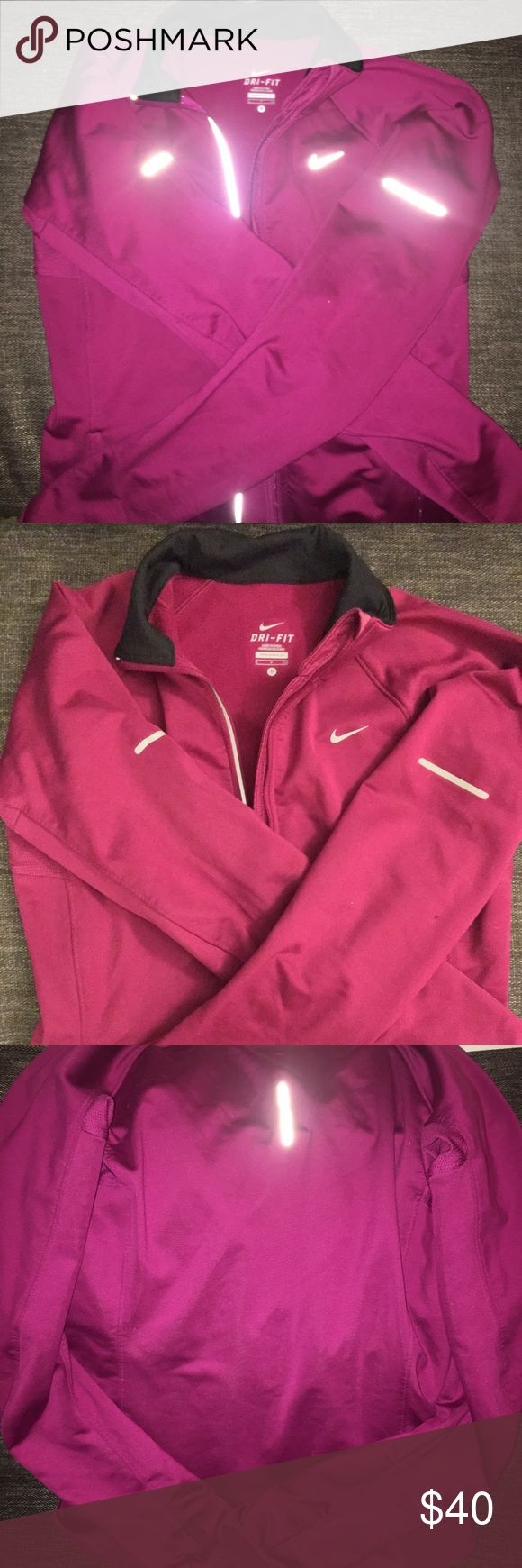 Nike running jacket Nike running jacket with reflector material and finger holes (to keep hands warm on chilly runs!). Nike Jackets & Coats
