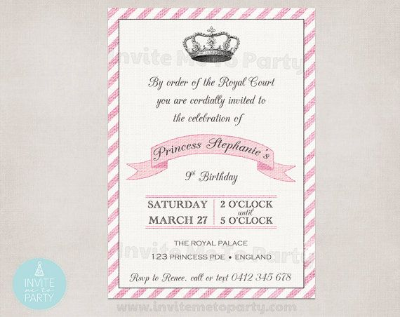 Royal Princess Party Invitation PRINTABLE by InviteMe2Party