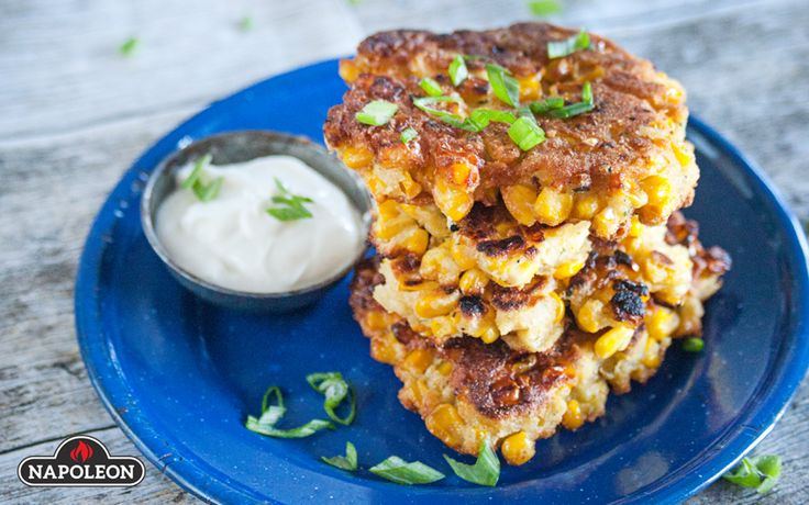 Corn Fritters With Roasted Garlic Dipping Sauce