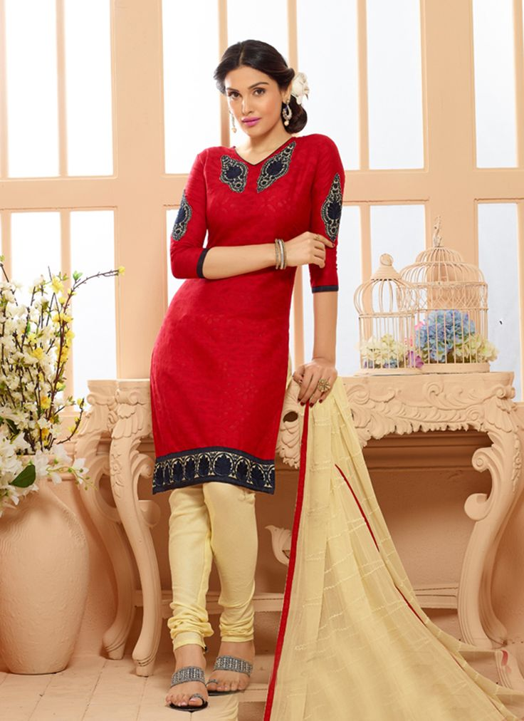 Red Wholesale Chanderi Salwar Kameez Specially For Festival