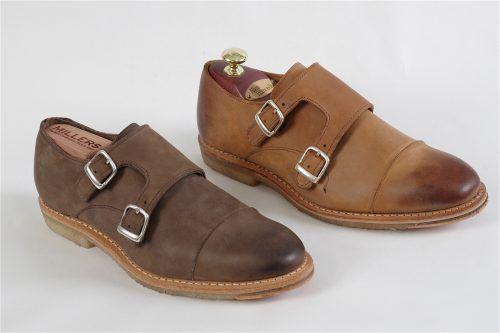 NEWBERG by Allen-Edmonds: Handcrafted in the USA Newberg features a double monk , toe capand crepe rubber soles.  Luxurious nubuck uppers built on the 201 last.  The ideal shoe for lightweight fun wardrobes.  Chocolate D (8-11,12,13,14)  Tan 3E (8-11,12,13)