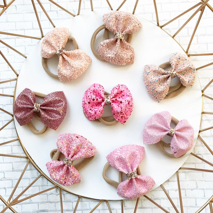 Pink glitter bows, perfect all year round.