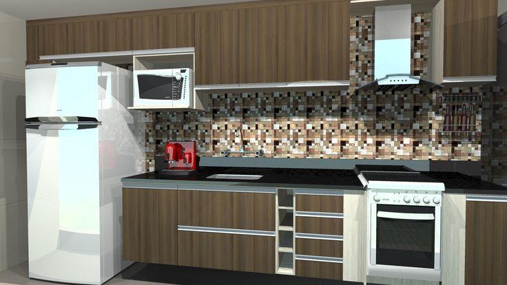 Cozinha planejada Pequena Fogão embutido