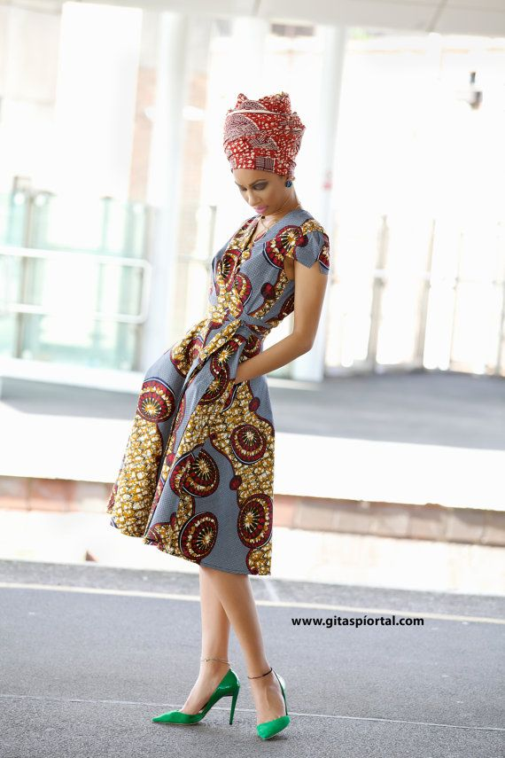 Queen African impression wrap dress GITAS portail par GitasPortal                                                                                                                                                                                 Plus