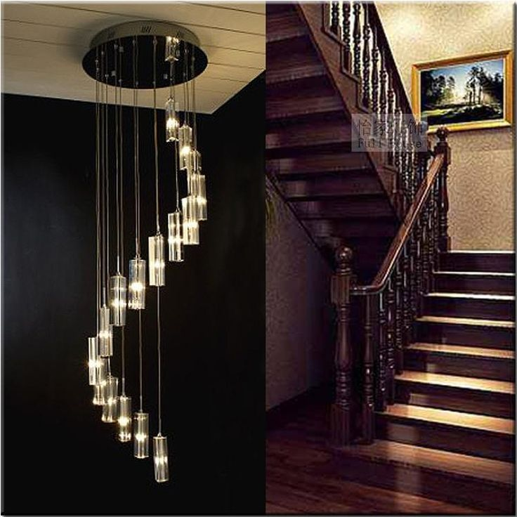 Modern Minimalist Fashion Transparent Crystal Block S Shaped Duplex  Staircase Pendant Chandelier Lighting Lamps Light For Hotel