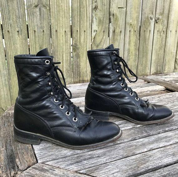 Justin stivali con lacci in pelle nera di wonderhillthrifts