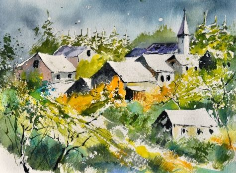 Daverdisse watercolor, painting by artist ledent pol