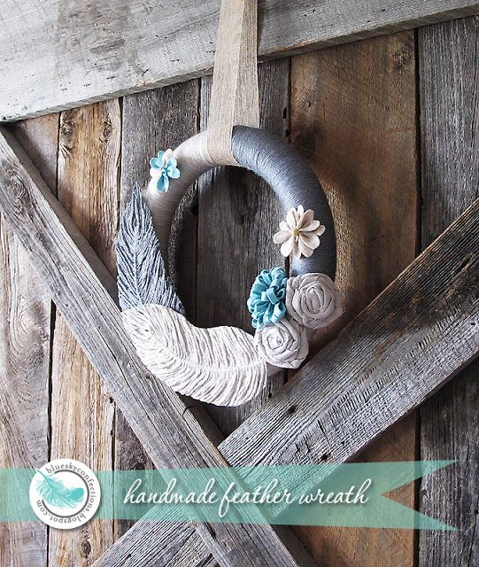 Handmade feather wreath with DIY feathers made from embroidery floss