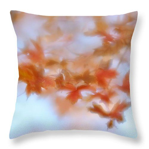 Autumn Maple Leaves Throw Pillow featuring the photograph Autumn Maple Leaves Soft by Diane Alexander